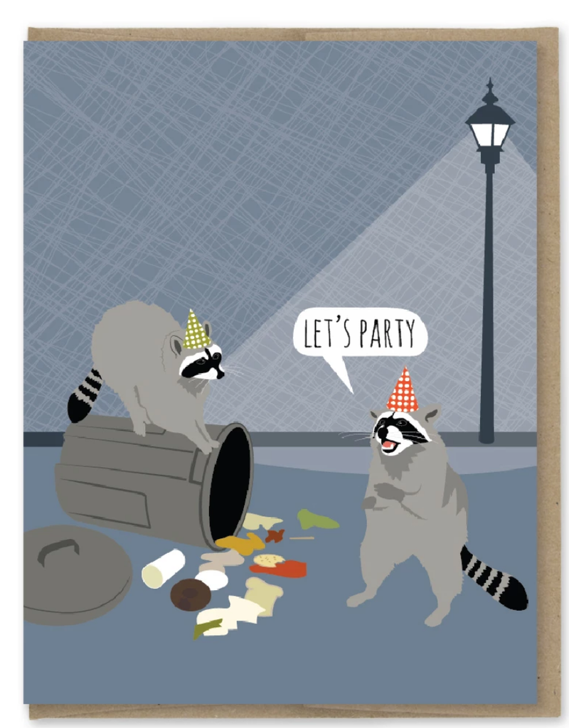 Modern Printed Matter Let's Party Trash Raccoons Greeting Card
