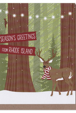 Modern Printed Matter Season's Greetings from Rhode Island Deer Scarf Greeting Card