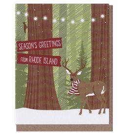 Season's Greetings from Rhode Island Deer Scarf Greeting Card