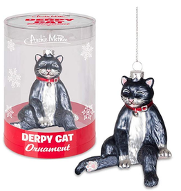 Accoutrements LLC Derpy Cat Glass Ornament