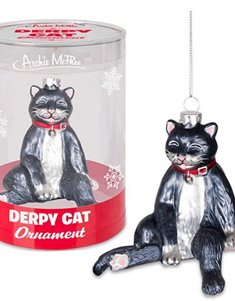 Accoutrements LLC Derpy Cat Glass Ornament