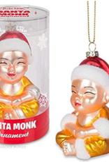 Santa Monk Glass Ornament