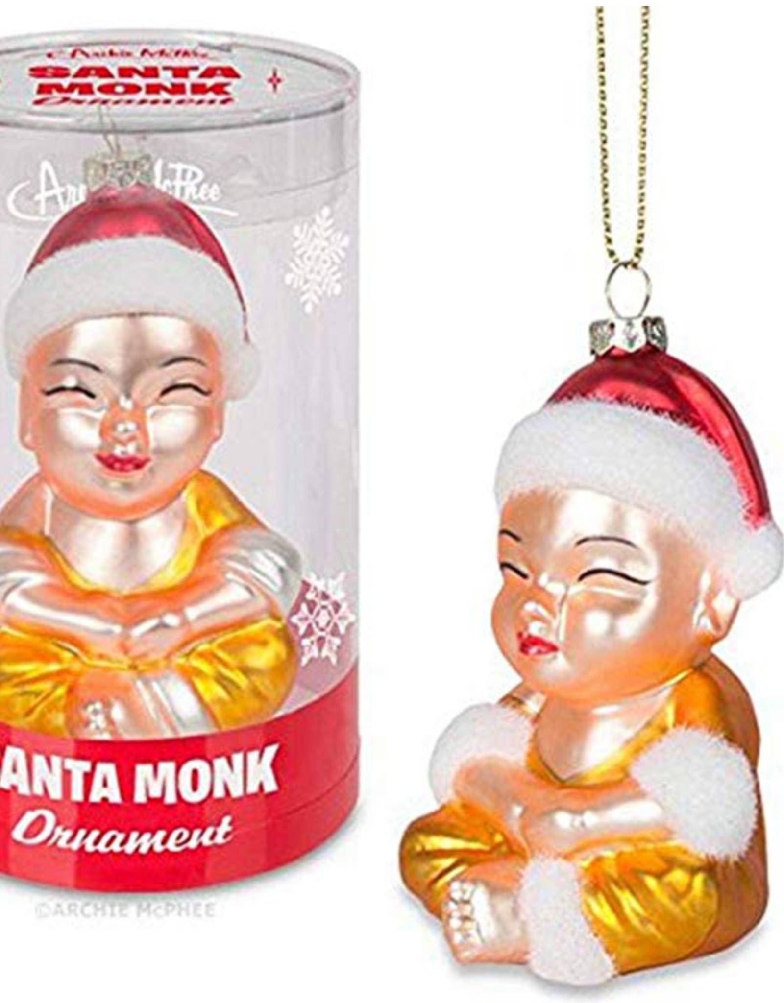 Accoutrements LLC Santa Monk Glass Ornament