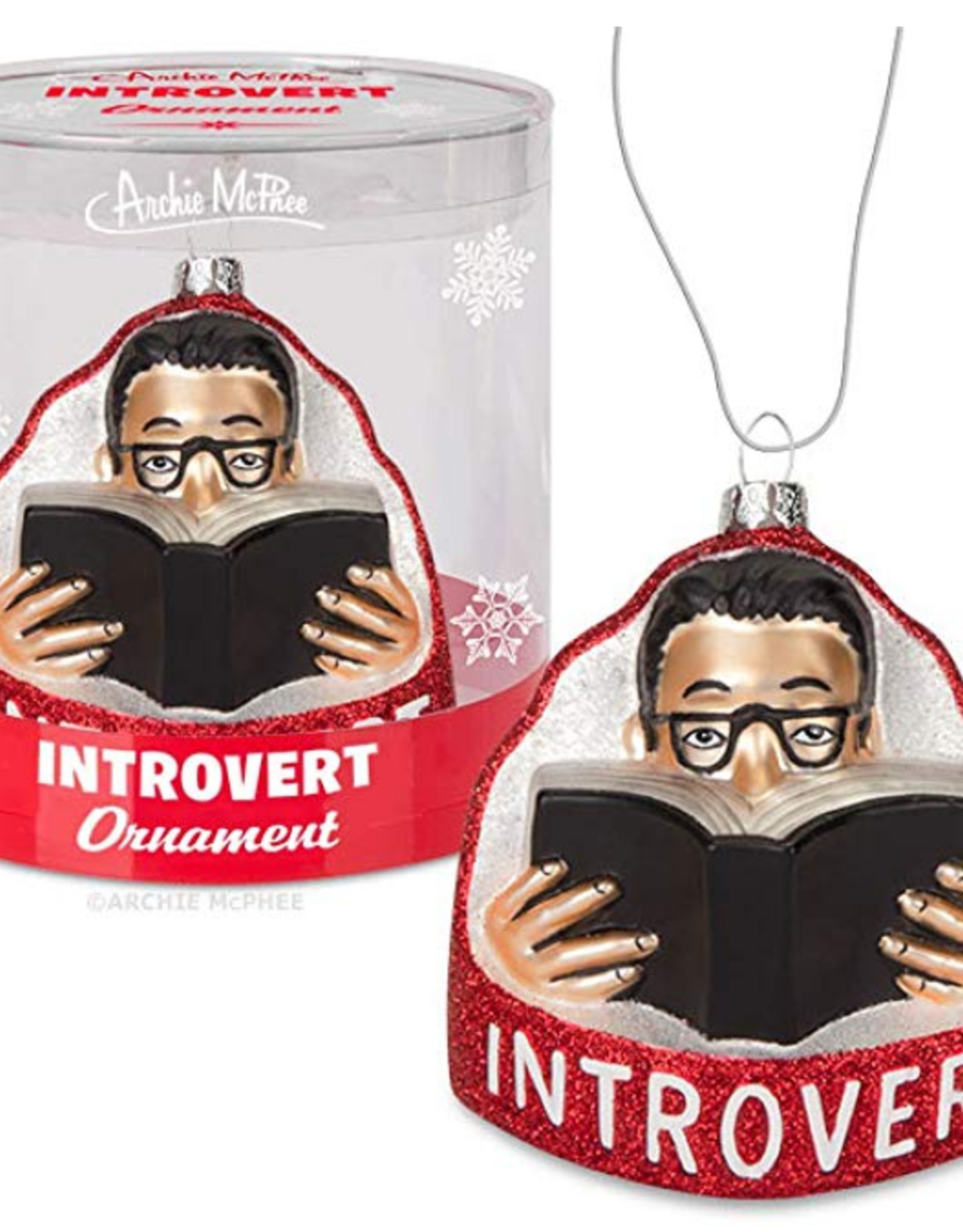 Introvert Glass Ornament
