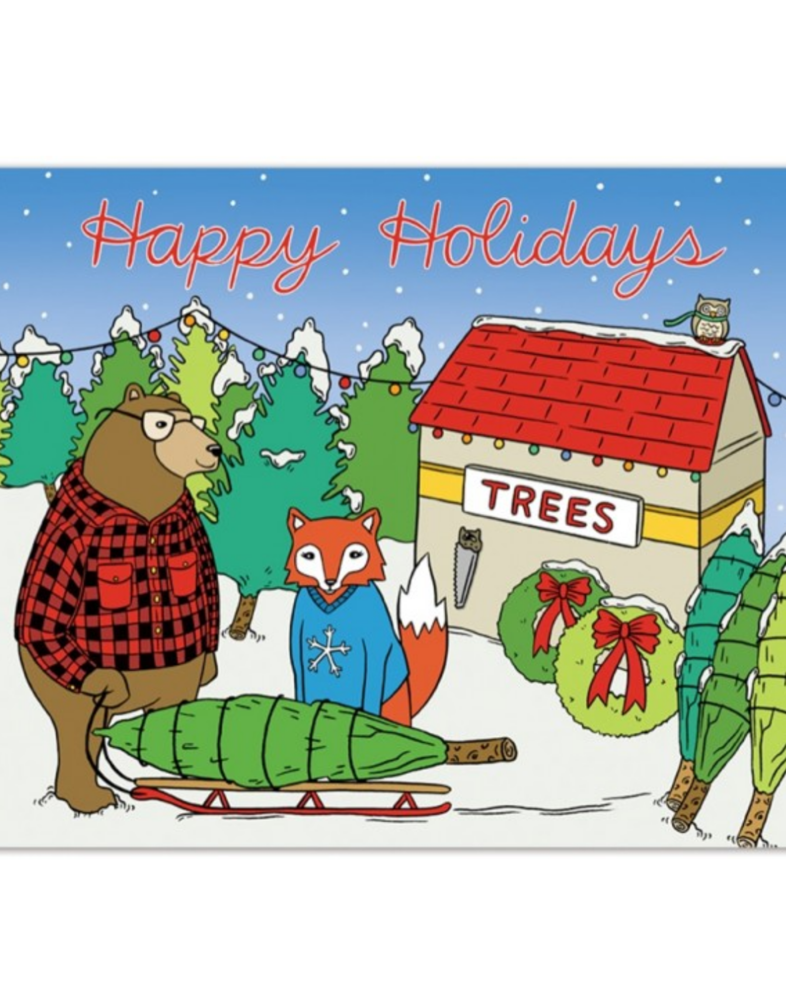 Holiday Animals Tree Lot Greeting Card