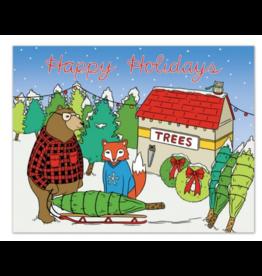 Holiday Animals Tree Lot Greeting Card