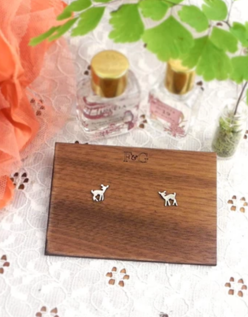 Figs and Ginger Fawn Stud Earrings - Sterling Silver