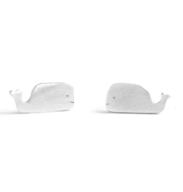Figs and Ginger Whale Stud Earrings - Sterling Silver