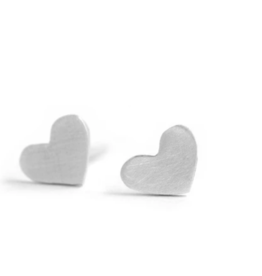 Figs and Ginger Tiny Heart Stud Earrings - Sterling Silver