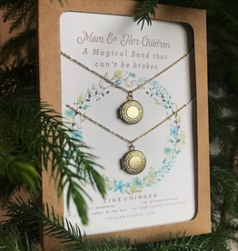 Figs and Ginger Mom and Her Children Locket Set of 2 Necklaces