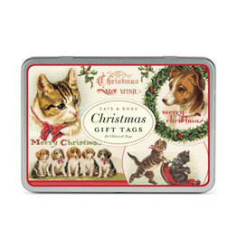 Cavallini Glitter Gift Tags in Tin: Cats & Dogs