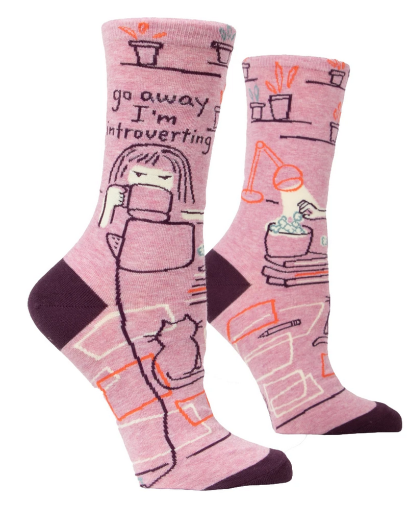 Blue Q Go Away I'm Introverting Women's Crew Socks