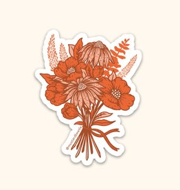 Mustard Beetle Handmade California Poppy Bouquet Sticker