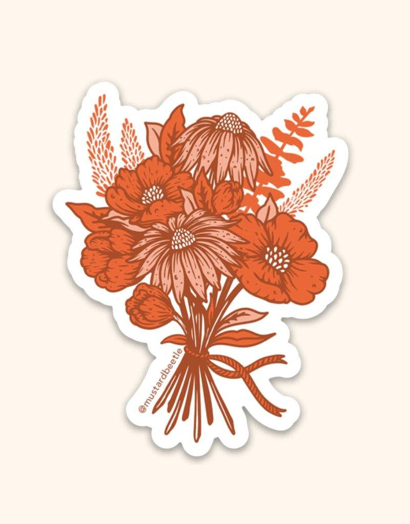 Mustard Beetle Handmade California Poppy Bouquet Sticker