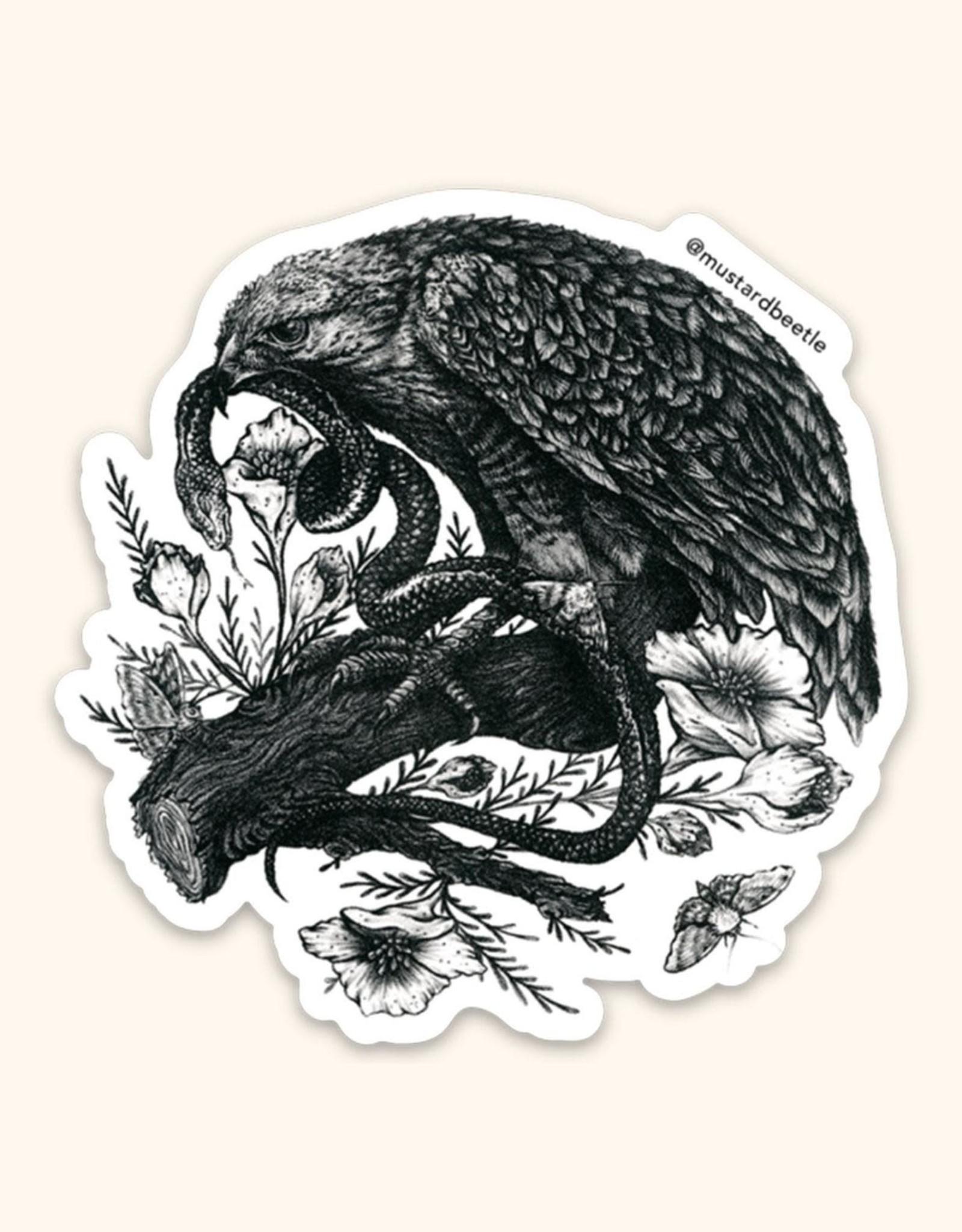 Hawk with a Snake Sticker