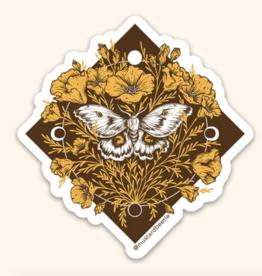 Mustard Beetle Handmade Polyphemus Moth & California Poppies Sticker