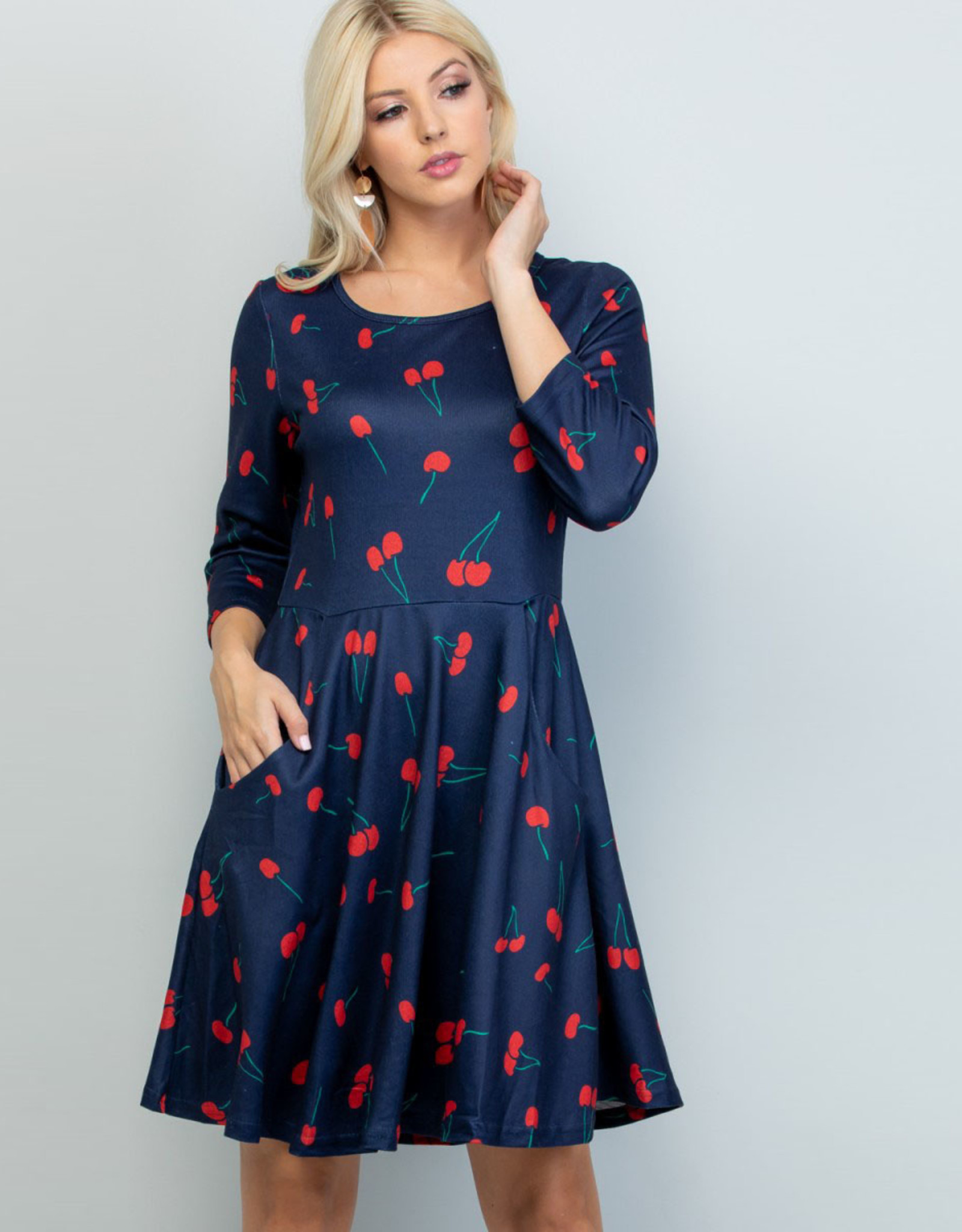 Cherry Print Tunic Dress (Navy)