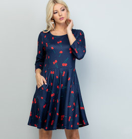 Cherry Print Tunic Dress (Navy)