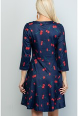LA Soul Cherry Print Tunic Dress (Navy)