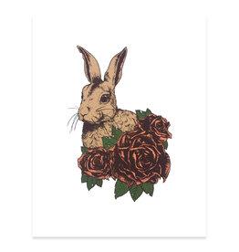 Mustard Beetle Handmade Crouching Rabbit Print