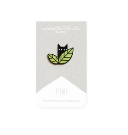Worthwhile Paper Cat in Leaves Enamel Pin