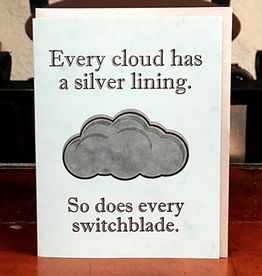 Lady Pilot Letterpress Every Cloud Has a Silver Lining Greeting Card
