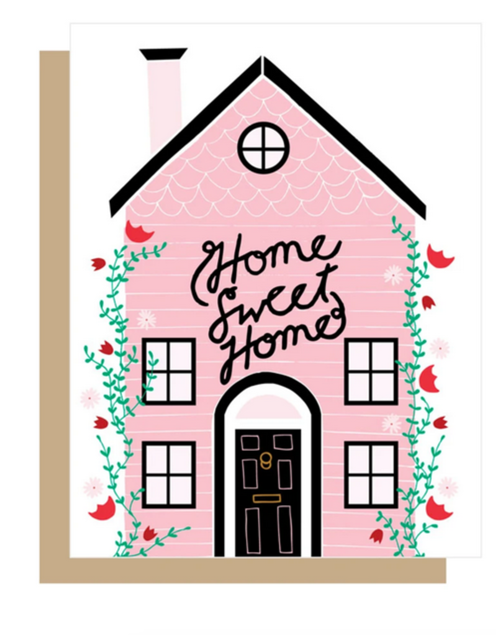 Gingiber Home Sweet Home Pink House Greeting Card