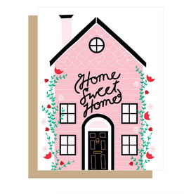 Home Sweet Home Pink House Greeting Card