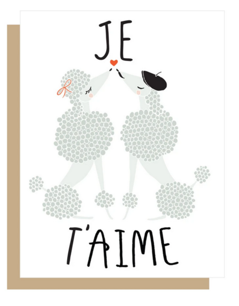 Gingiber Je T'Aime French Poodles Greeting Card