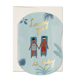 Red Cap Cards Loving You is Easy Pool Greeting Card