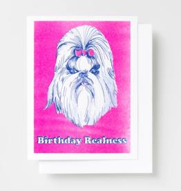 Yellow Owl Workshop Birthday Dog Realness Riso Greeting Card