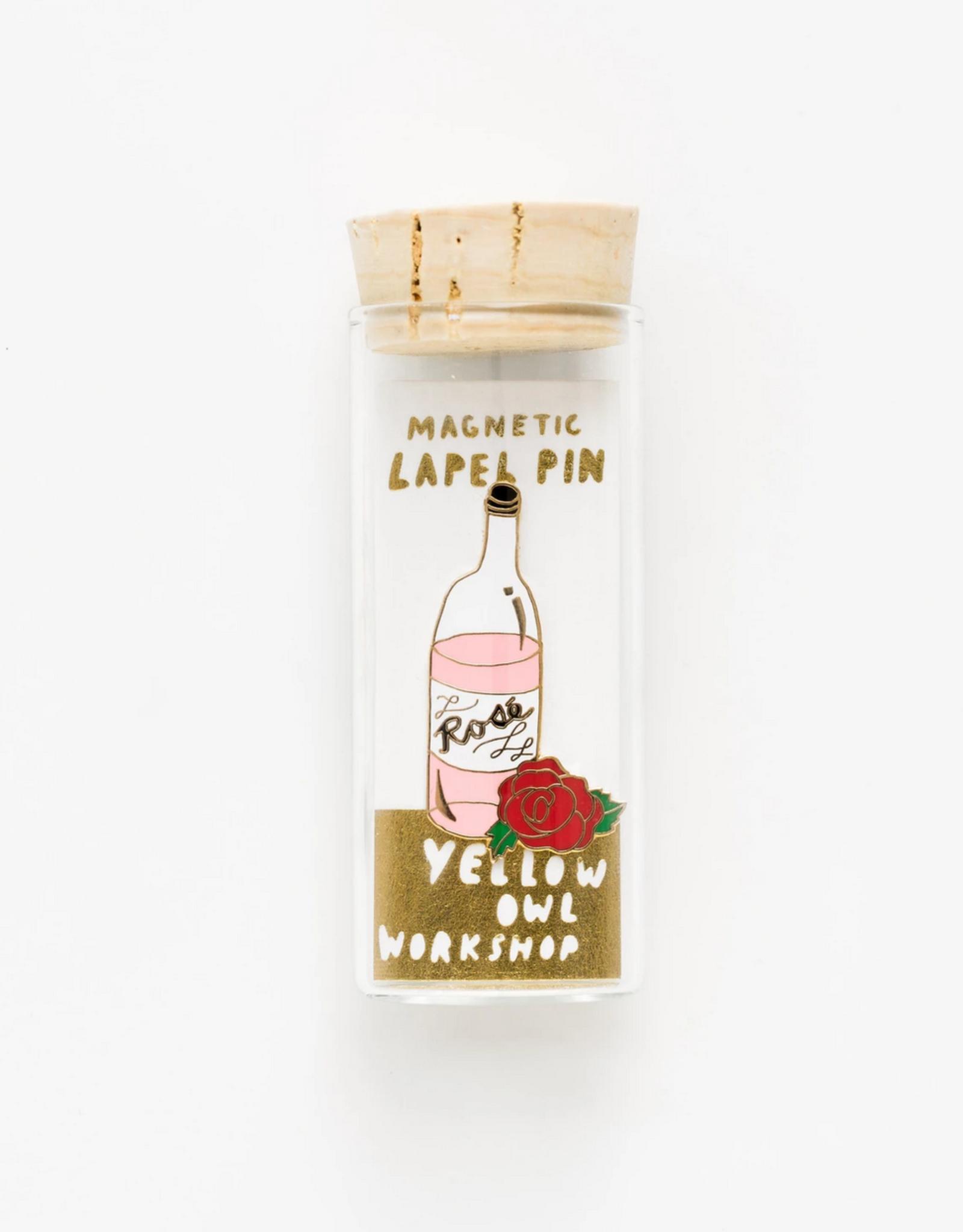 Rose & Rosé Lapel Pin in Glass Vial