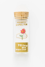 Yellow Owl Workshop Hand & Flower Lapel Pin in Glass Vial