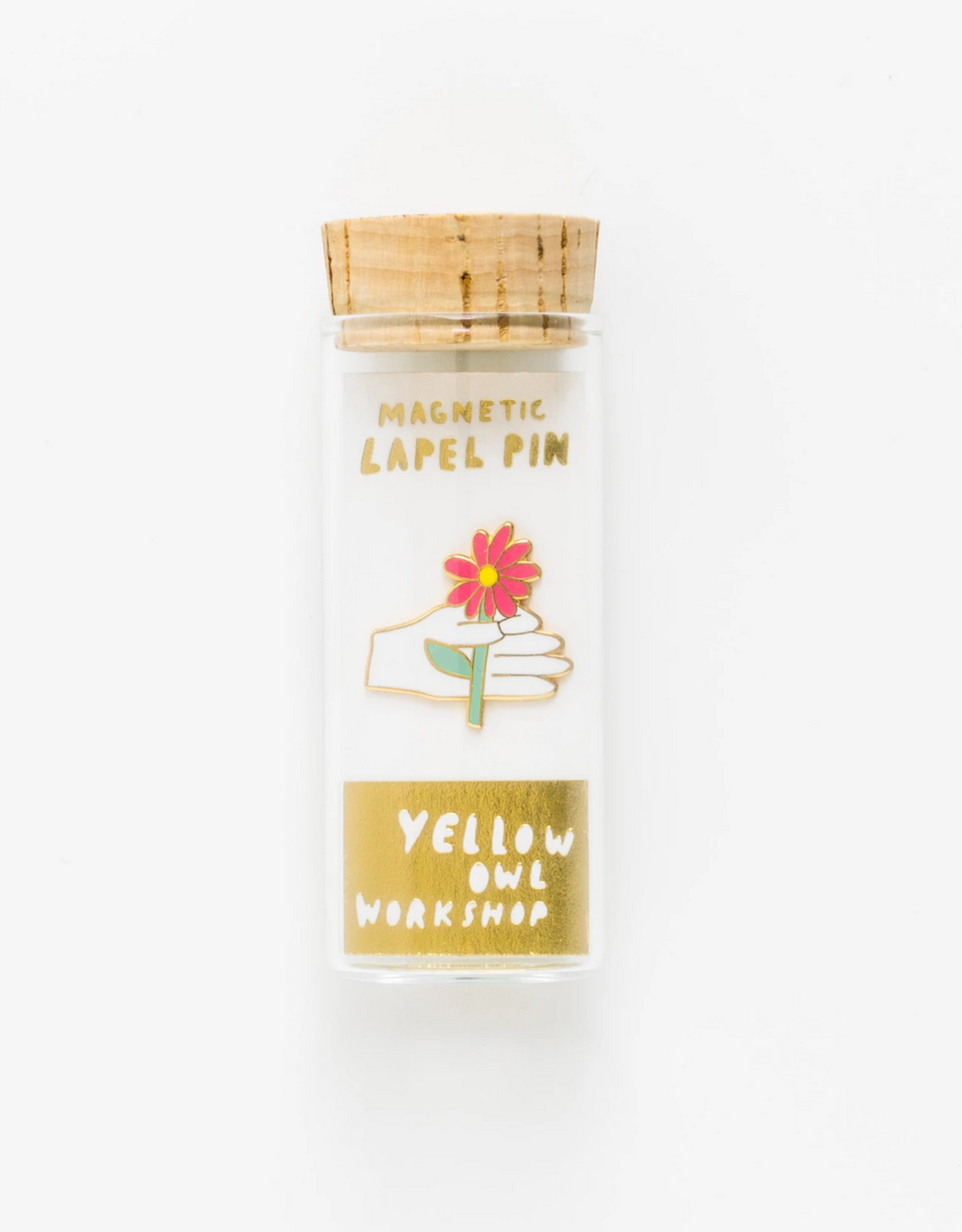 Hand & Flower Lapel Pin in Glass Vial