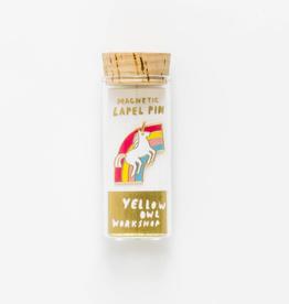 Yellow Owl Workshop Unicorn & Rainbow Lapel Pin in Glass Vial