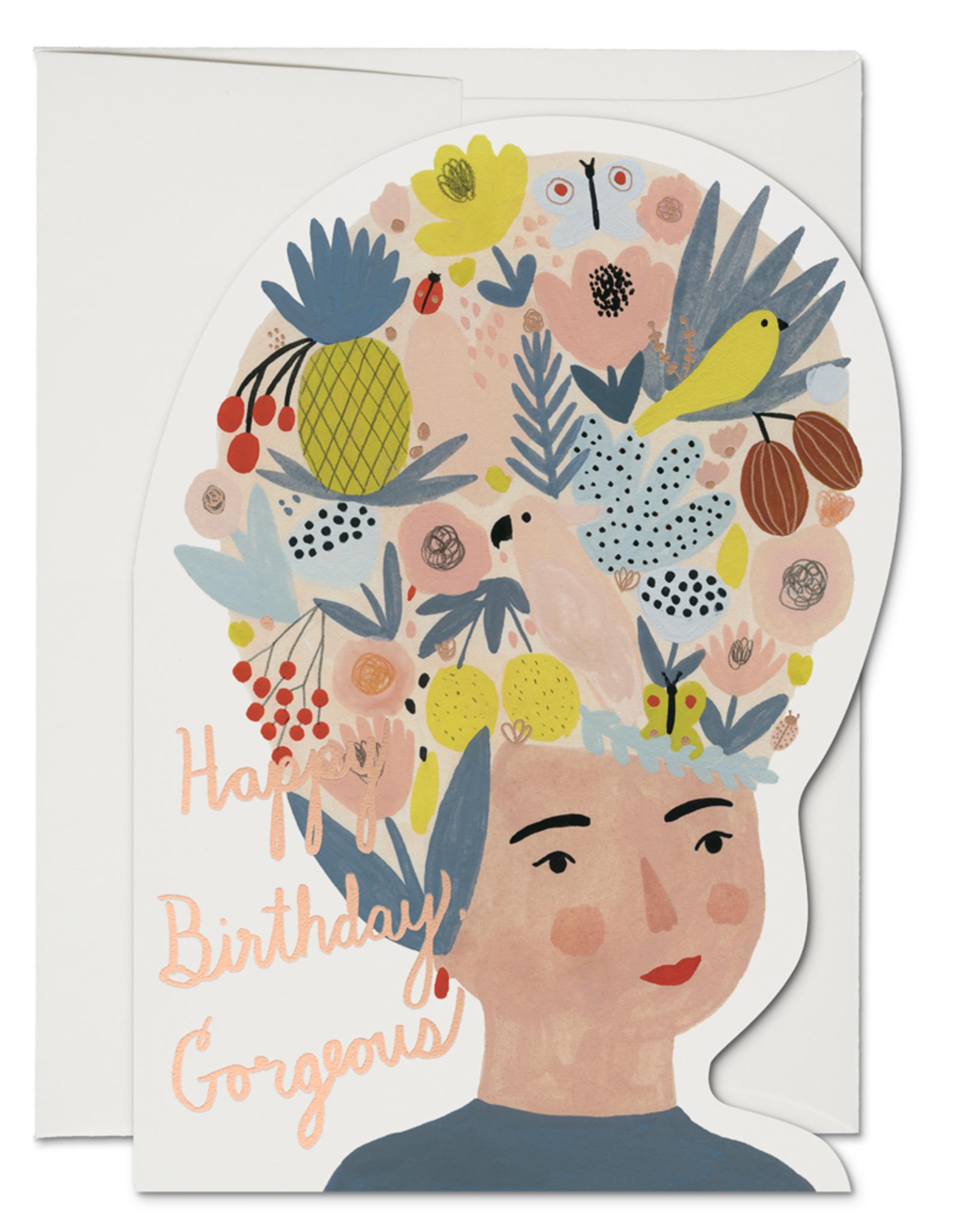 Happy Birthday Gorgeous Fruit Hat Greeting Card