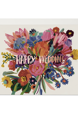 Red Cap Cards Happy Wedding Bouquet Greeting Card