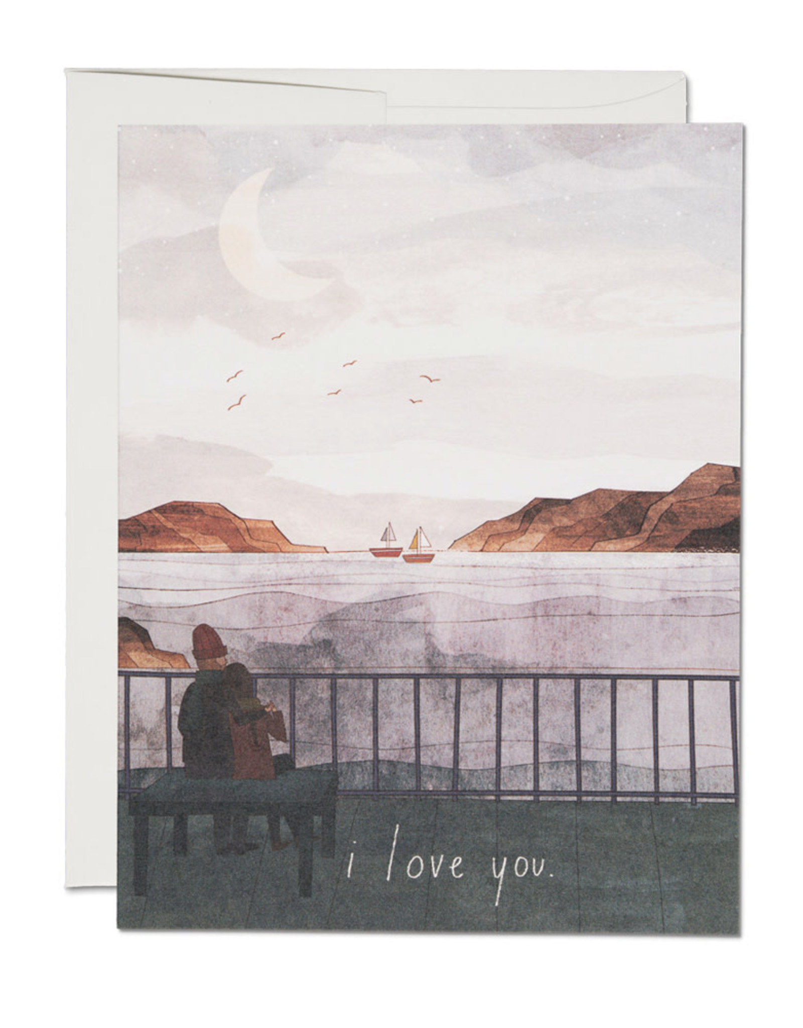 Red Cap Cards I Love You Sailboats Greeting Card