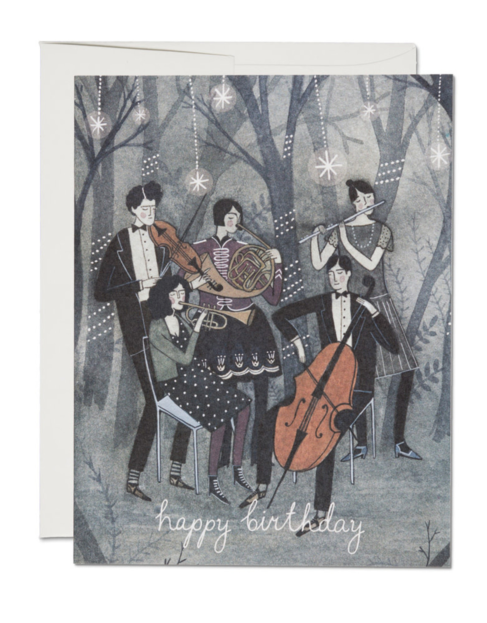 Red Cap Cards Happy Birthday Musicians Greeting Card