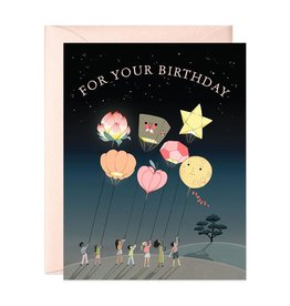 JooJoo Paper Birthday Balloons Greeting Card