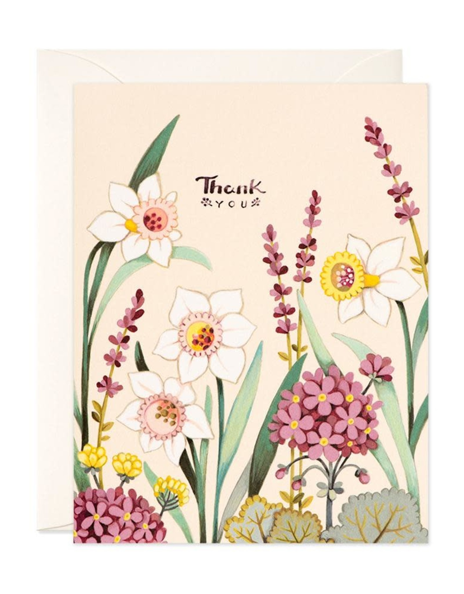 JooJoo Paper Thank You (Cream Florals) Greeting Card