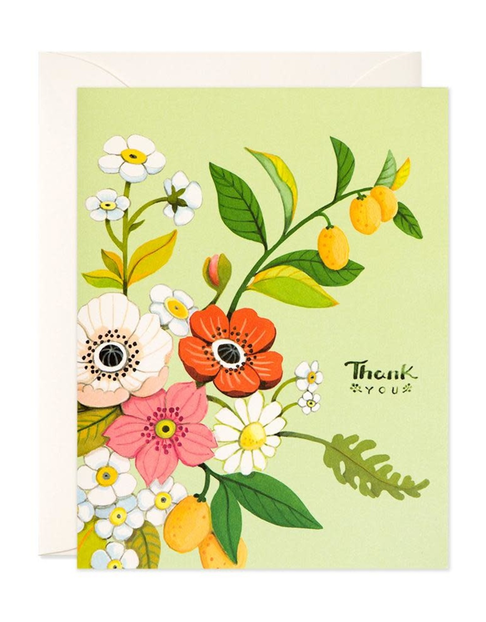 Thank You (Green Florals) Greeting Card