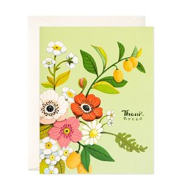 JooJoo Paper Thank You (Green Florals) Greeting Card