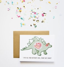 Ate all the Cake Dino Greeting Card