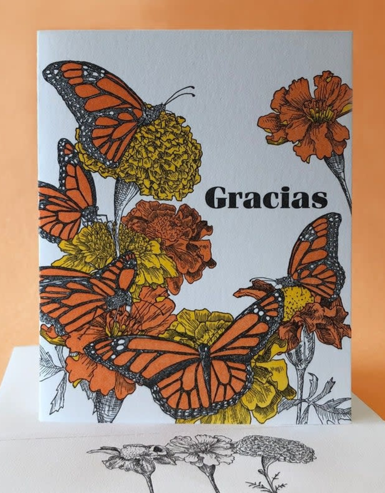 Gracias (Monarch's & Marigolds) Greeting Card