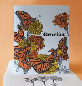 Painted Tongue Studios Gracias (Monarch's & Marigolds) Greeting Card