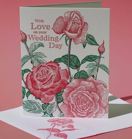 Painted Tongue Studios With Love on your Wedding Day (Tea Rose) Greeting Card