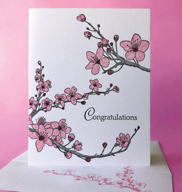 Painted Tongue Studios Congrats (Cherry Blossoms) Greeting Card