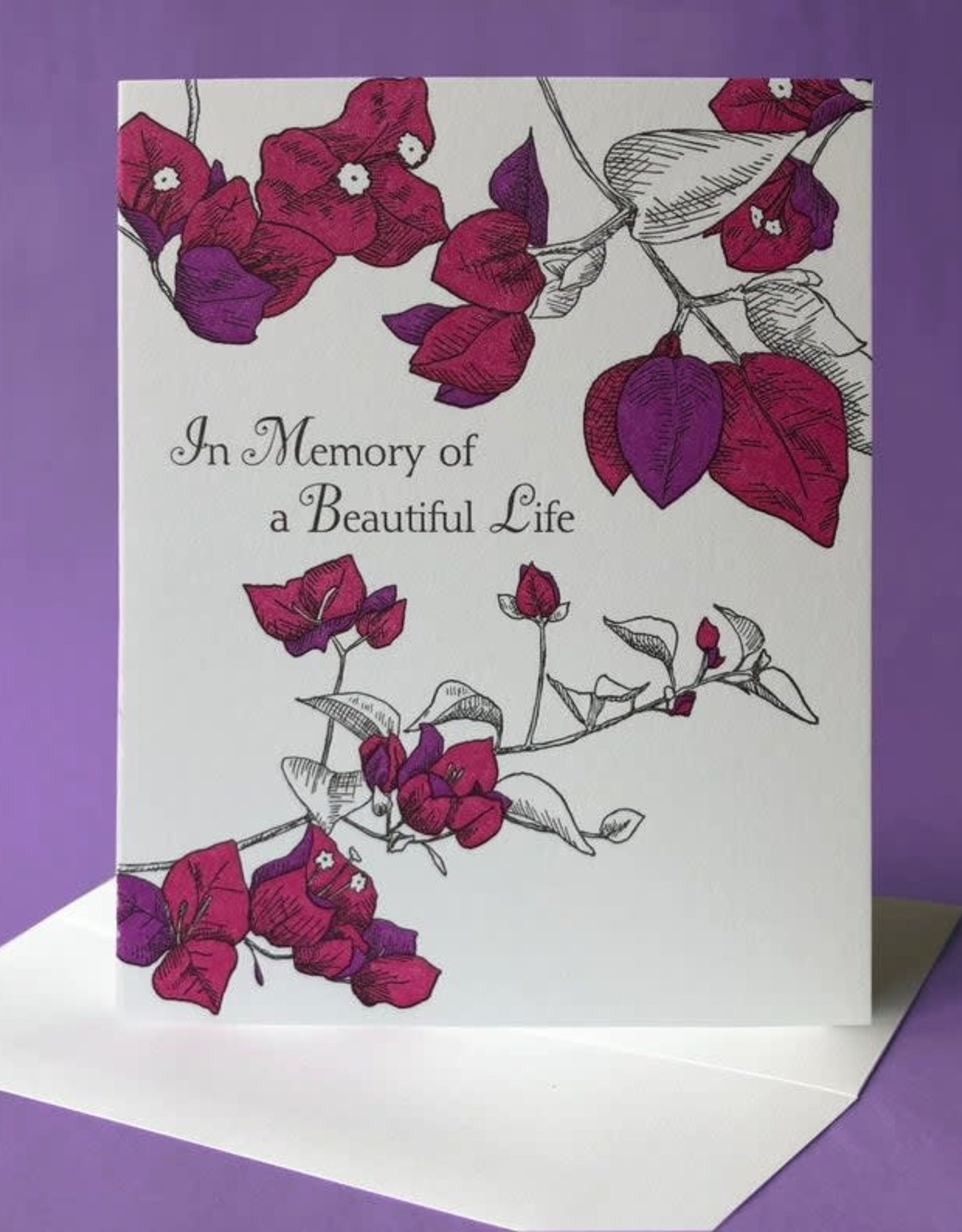Painted Tongue Studios In Memory of a Beautiful Life (Bougainvillea) Greeting Card