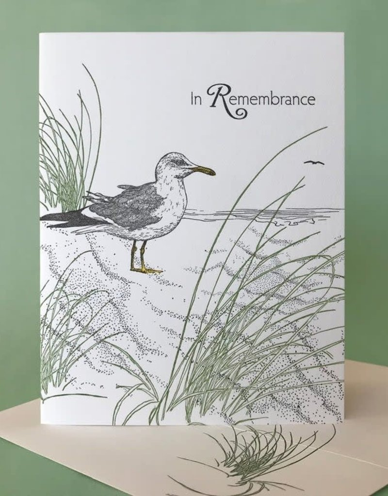 Painted Tongue Studios In Remembrance (Dune Grass & Gull) Greeting Card